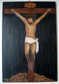 Olio su legno 20x30 L'evento finale della vita terrena di Gesù