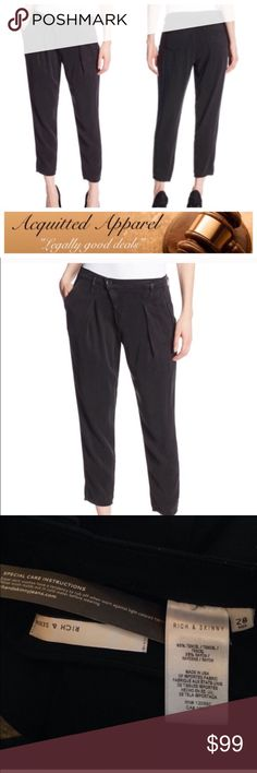 (Rich & Skinny) Gwen Ankle Trouser Pants Rich & Skinny Gwen Ankle Pants Black •65% Tencel/35% Rayon •Made in the USA and Imported •Machine Wash •Good addition to your spring wardrobe. Wear it with a great pair of heels or flats. Rich & Skinny Pants Trousers