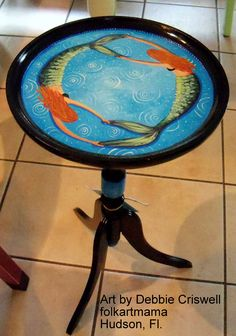 Hand painted by artist mermaid table, plant stand. Keywords - painted furniture, mermaid, tropical, decor, beach, table, island, hand painted, artist, folkartmama, Debbie Criswell, Florida