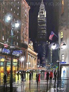 PETE RUMNEY FINE ART MODERN ACRYLIC OIL ORIGINAL PAINTING MADISON AVENUE NYC USA in Art, Artists (Self-Representing), Paintings | eBay