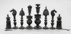 Antique Anglo-Indian Berhampur export chess set Christie's handcarved stained