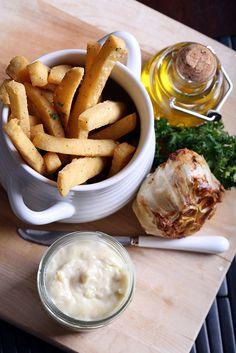 Chickpea Fries (Panisse) with Roasted Garlic Aioli (vegan)