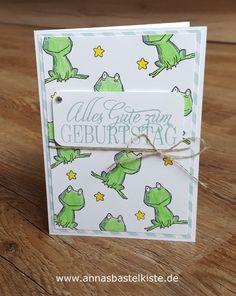 """Die Tierchen aus dem aktuellen Gastgeberinnenset """"Love you lots"""" haben es mir echt angetan, sodass für eine Geburtstagskarte wieder mal eins davon dran glauben musste, nämlich der Frosch. Diesen ha…"""
