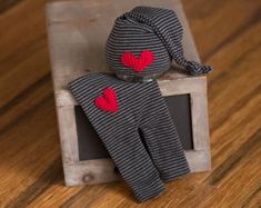 Newborn Hat & Pants set Upcycled Navy Blue and by rowanstreehouse
