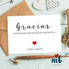 tarjeta de agradecimiento para bodas corazoón Expressions Of Sympathy, Cover Photo Quotes, Wedding Guest Book, Cover Photos, Weddingideas, Thank You Cards, Place Card Holders, Baby Shower, Invitations