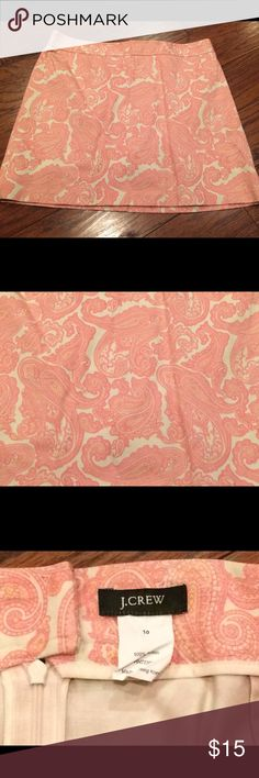 """J Crew Pink Paisley A Line Cotton Skirt Size 10 J Crew pink paisley A line skirt. Size 10. All cotton. Rear zipper close. Above knee hem. Measures 16.75"""" in length & 16"""" at waist. Great condition with no flaws J. Crew Skirts Mini"""
