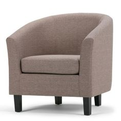 Simpli Home Austin Upholstered Tub Chair In Fawn Brown