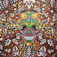A Magical Mask in a Magical Jungle.  #magicaljungle #mask #tribalmask #selvamagica #artoftheday #adultcoloring #adultcoloringbook #becreative #coloringbook #drawing #doodle #enchantedforest #blackleaf #johannabasford #livrodecolorir #secretgarden #lostocean #zentangle