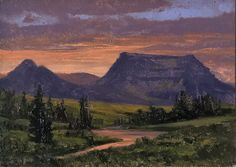 """Paintings from one of two of the Dix Baines Studio Auctions l """"Summer Garden Party and Auction #4"""" l 5x7 I Dix Baines I Fine Artist l Original Oil Paintings I Mountains l Sunset l River I Colorado l Auctions l www.dixbaines.com/studio-auctions"""