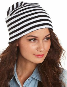 Striped Knit Boyfriend Beanie: Charlotte Russe