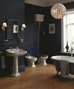 Style our Granley suite with #period colours such as midnight #blue to endure opulence from a bygone era. Paint your Buckingham cast iron bath navy blue to match the walls and pair with glistening #accessories.ow.ly/Hung30dHyF3 #modernshowerideas #home #luxury #homedecor #relaxing #luxurylife #bathroom  #bathtime #homestyle #homedecoration #luxuryliving #luxuryhomes #homewares  #luxurystyle #luxury4play #homeimprovement #bathtub #luxurydesign #homeowner #homedecorating #bathroomdesign