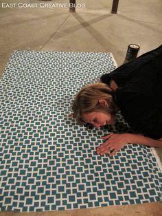 East Coast Creative: DIY Fabric Floor Cloth {Floor Mat}