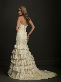 Allure Bridals Style 8713. Gorgeous layering and button detail