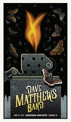 Dave Matthews Band Poster 2012 Camden NJ Lighter N2 650 RARE | eBay