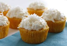 Piña Colada Cupcakes   18.25 oz box yellow cake mix (I used Betty Crocker Super Moist) 20 oz can crushed pineapple in juice  (do not drain)     Combine both ingredients in large bowl.    Mix on medium speed with electric mixer. Pour into lined cupcake tins about 2/3 full. Bake in accordance with cake mix directions or until a toothpic