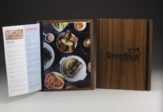Walnut wood menu boards for Deep Blue. They utilized a vertical rubber band, for book-style paper menus. Wood Menu, Menu Boards, Fort Collins, Rubber Bands, Walnut Wood, Deep Blue, Restaurant, Tea, Paper