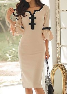 Split Neck Bowknot Embellished Flare Sleeve Beige Dress on sale only US$33.95 now, buy cheap Split Neck Bowknot Embellished Flare Sleeve Beige Dress at liligal.com