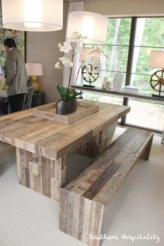 Rustic dining table; southern hospitality