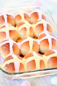 Fresh Hot Cross Buns. They are really good. I made them and I loved them! Everything I've tried on this website is great!