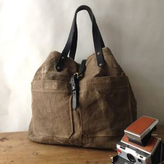Calais Vintage French Linen Tote — by elke