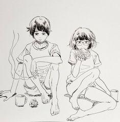 (18) 永田カビ(新刊年内発売予定) (@gogatsubyyyo) 的媒体推文 / Twitter Abstract Pencil Drawings, Anime Drawings Sketches, Manga Drawing, Manga Art, Cute Drawings, Pretty Art, Cute Art, Character Design References, Character Art