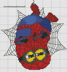 schema punto croce Minion Spiderman