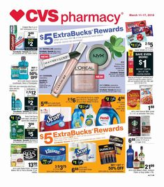 Find Latest CVS Weekly ad Flyer March 11 – 17, 2018 and Find Pharmacy online, sales, special offers, coupons, Save on Grocery, Household, Beauty, Personal Care, Health Care, Baby, and more. The Customers can search CVS ads or CVS Pharmacy Hot Deals here to keep track of the discounts, ...