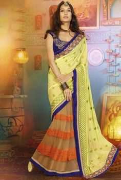 Pictorial Peach and Lime Yellow #Saree