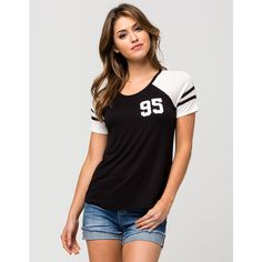 Full Tilt 95 Womens Football Tee ($20) ❤ liked on Polyvore featuring tops, t-shirts, raglan tee, jersey tee, jersey t shirts, short tops and full tilt tops