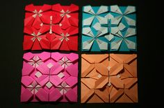 Origami Mosaics from Froebel Base Origami Lampshade, Origami Quilt, Origami Folding, Modular Origami, Origami Boxes, Origami Wall Art, Origami Paper Art, Paper Crafts, Origami Geometric Shapes