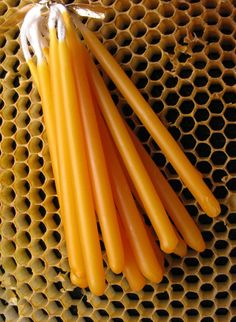 Beeswax Candles, Hand Dipped Birthday Candles, Orange Tapers, Coloured Beeswax Candles, Bees Wax.. $3.00, via Etsy.