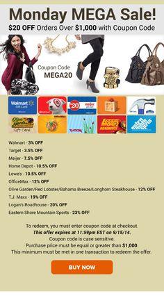 Monday MEGA Sale: Walmart 3% OFF, Target 3.5% OFF, Meijer 7.5% OFF & More!