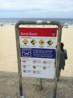 Bondi Beach in Australia Red And Yellow Flag, Bondi Beach, New Zealand Travel, Travel Around, Swimming, Australia, Life, Swim