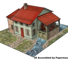PAPERMAU: The Watermill - A French Vintage Paper Model - by Pellerinvia Agence Eureka