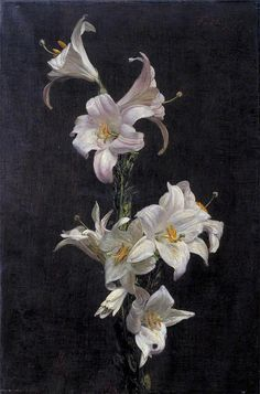 ❀ Blooming Brushwork ❀ - garden and still life flower paintings - Henri Fantin-Latour | Lilies