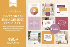 The Instagram Creator Template Bundle for Canva is a collection of 495+ Canva Engagement Templates designed for Coaches, Course Creators & Online Entrepreneurs. $37 by Fallon Gerst Media Kit Template, Quote Template, Social Media Template, Web Design, Tool Design, Graphic Design, Media Design, Creative Design, Design Trends