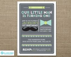 Little Man Invitation Little Man Printable First by EllisonReed, $16.00