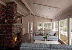Kalliosaari 87 Brick Fireplace, Outdoor Decor, Cottage, House, Home, Beach House Decor, Home Reno, Beautiful Homes, Log Homes