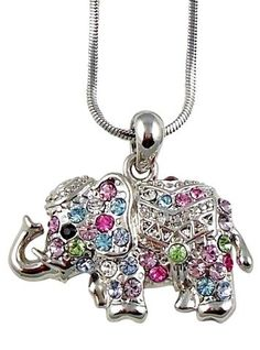 Amazon.com: Adorable Little Multicolor Pink, Blue, Green, yellow, clear Crystal Elephant Charm Silver Necklace For Girls, Tweens and Teens: Jewelry