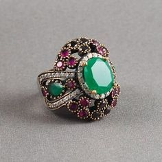 Ottoman Style Emerald Ring 925K Sterling Silver by jewelstanbul, $99.00