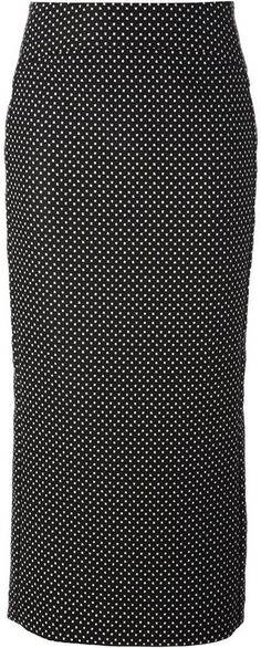 €231, Falda Midi a Lunares en Negro y Blanco de Emporio Armani. De farfetch.com. Detalles: https://lookastic.com/women/shop_items/104583/redirect