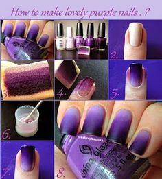 Nails sencillas degrade 27 Ideas for 2019 Purple Ombre Nails, Gradient Nails, Diy Nail Designs, Simple Nail Designs, Trendy Nails, Cute Nails, Summer Toe Nails, Nagellack Design, Geometric Nail
