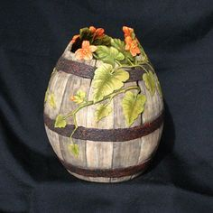 Carved Gourd with Weathered Look Vines and by GOURDSByGaryKvalheim