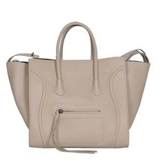 Celine Light Grey Leather luggage Phantom Square Tote Bag