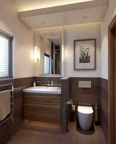Kleines Badezimmer Trennwand Waschkonsole Holz Toilette Braun Fliesen