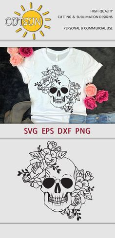 Cricut Vinyl, Svg Files For Cricut, Silhouette Projects, Silhouette Cameo, Cutter Machine, Commercial, Tree Svg, Flower Svg, Floral Skull