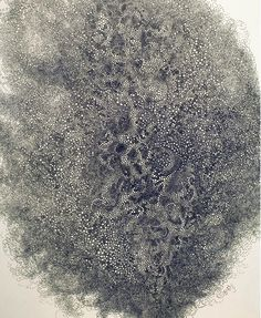 """andfreedomfor:  Hiroyuki Doi's Circular Obsession. """"My challenge, precisely, is how small circles I can draw,"""" said Doi, speaking through a translator. Doi's drawings contain thousands of pulsating, clustered orbs, inked with a trusty Pilot pen."""