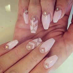 Pink Studded Negative Space Nails nails nail art nail ideas nail designs nail pictures negative space nails negative space