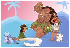 Lilo and Stitch meet Moana and Maui by Skirtzzz on DeviantArt