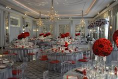 Silver Mirror Table - Round and also a Rectangular Top Table (designed at a bespoke length). With Ice Napoleon Chairs and matching red seat pads. Wedding Furniture, Wedding Chairs, Wedding Reception, Wedding Thank You Cards, Wedding Make Up, Wedding Things, Head Table Decor, Table Decorations, Outside Wedding